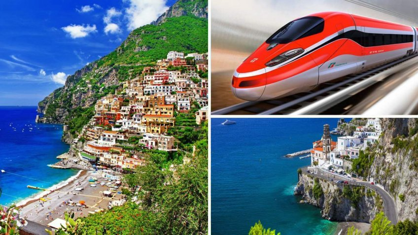 Amalfi Coast boat tour from Rome with transfer by high speed train